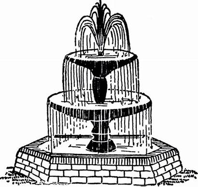 Fountain Clip Clipart Water Drawings Drawing Cliparts