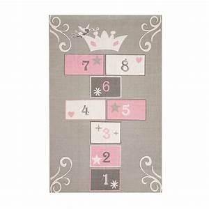 tapis enfant marelle en coton gris rose 120 x 180 cm With tapis fille rose