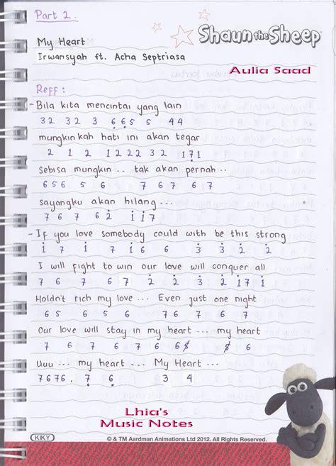 catatan not lagu irwansyah ft acha septriasa quot my heart quot piano pianika pemula