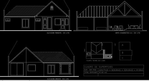 single storey house  dwg full project  autocad