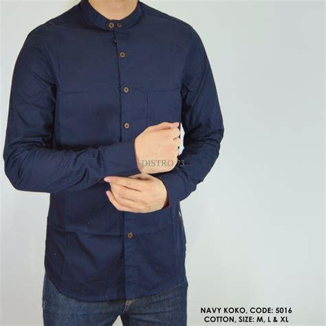 jual baju kemeja panjang kerah koko polos polosan biru dongker cowok pria best seller terlaris