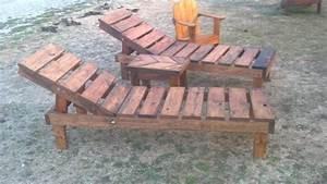 Reclaimed pallet wood chaise lounge chairs (adjustable