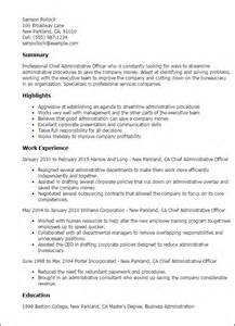 resume for administrative officer position new resume summary ebook database