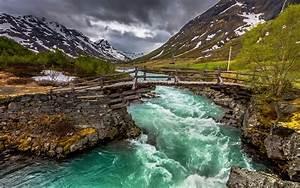 nature, , landscape, , river, , bridge, , mountain, , trees, , clouds