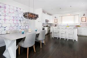 transitional white kitchen has gray diamond backsplash With kitchen colors with white cabinets with birth announcement wall art