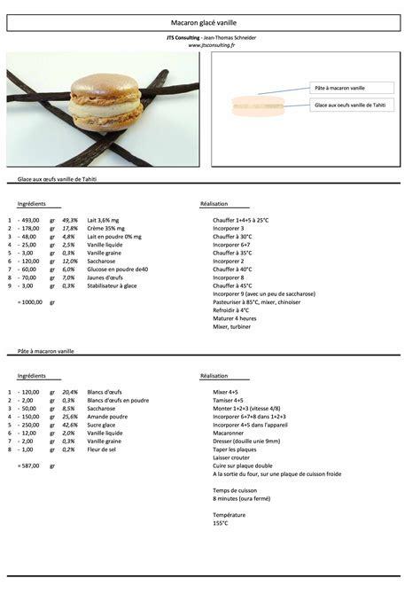 fiche technique cuisine pdf macaron glacé vanille tahiti vanille