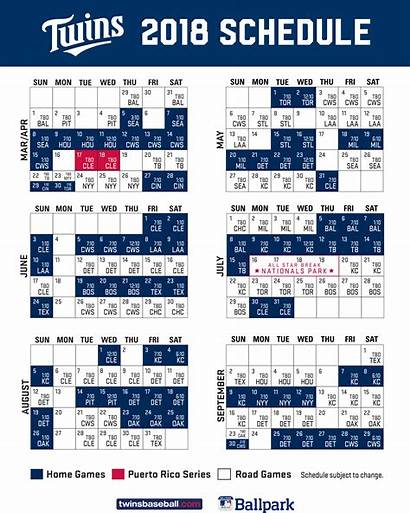 Schedule Twins Printable Minnesota Mlb Templates Pdf