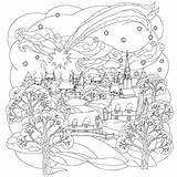 Coloring Pages Christmas Adults Winter Scene sketch template