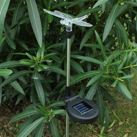 garden decor 7 color solar power dragonfly stake light