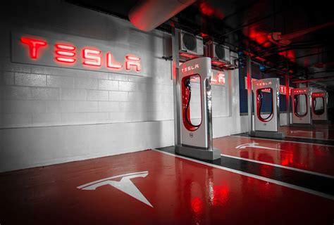 tesla charging tesla unveils largest underground supercharger station