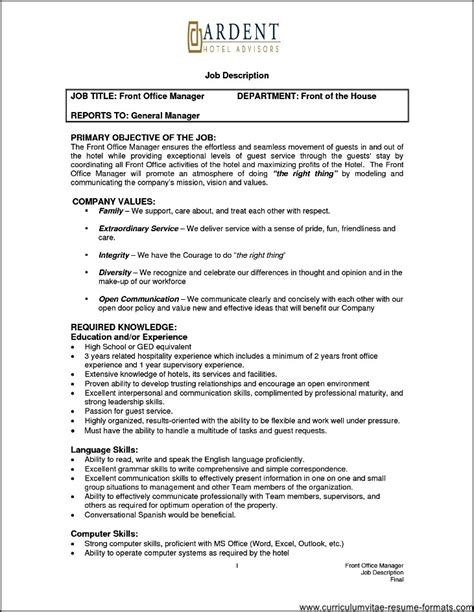 Front Office Executive Resume Format by Front Office Manager Resume Sle Free Sles Exles Format Resume Curruculum Vitae
