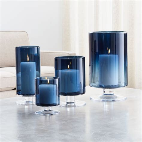 london blue hurricane candle holders crate  barrel