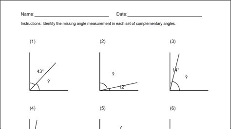 Complementary Angles Worksheet For Windows 8 And 81