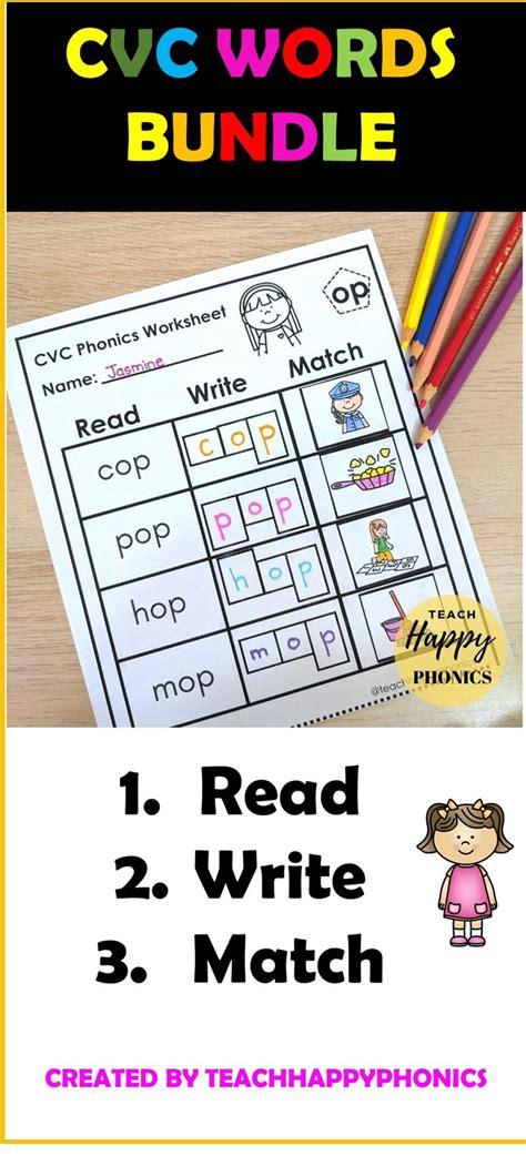 read write match phonics worksheet printable short vowels