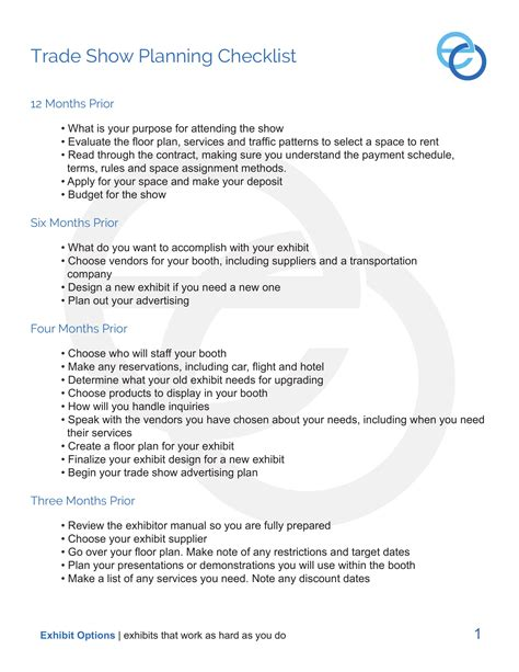 trade show checklist examples  examples