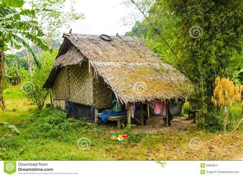 small farmhouse surrounded  jungle   thai style stock image image
