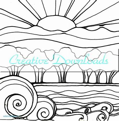 Sunset Coloring Pages Drawing Beach Sunsets Landscape