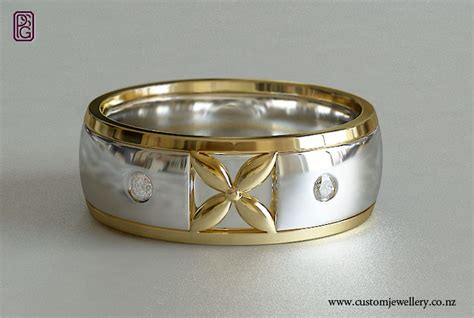 frangipani motif pacifica white and yellow gold wedding ring new zealand