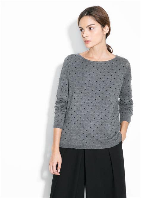 polka dot sweater mango embossed polka dot sweater in gray medium grey lyst