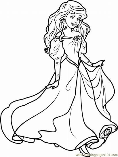 Ariel Coloring Princess Pages Disney Princesses Cartoon