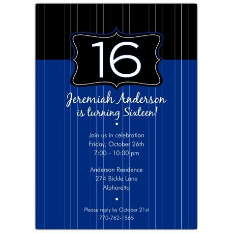 16th Birthday Invitations Templates by Black Emblem Blue 16th Birthday Invitations Paperstyle