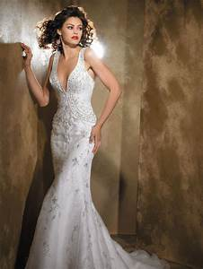 Sexy vintage wedding dress with deep v neckline mbd3142 for Sexy vintage wedding dress