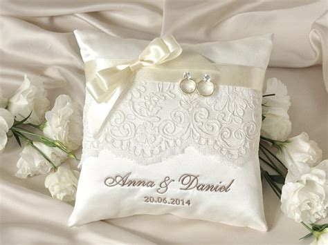 lace wedding pillow ring bearer pillow embroidery names