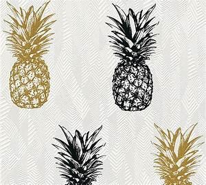 Schwarz Gold Tapete : vlies tapete ananas tropen schwarz gold glitzer 35997 1 ~ Yasmunasinghe.com Haus und Dekorationen