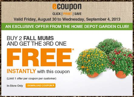 the home depot garden club printable coupons buy 2 fall