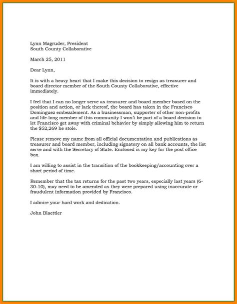board member resignation letter samples resignition