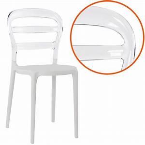 Chaise Plastique Transparente : chaise design 39 baro 39 blanche et transparente en mati re plastique ~ Melissatoandfro.com Idées de Décoration