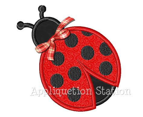 applique design ladybug ladybird applique machine embroidery design black