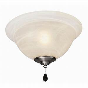 Design house light satin nickel ceiling fan kit with alabaster glass bowl shade