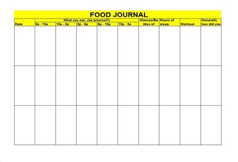 Food Journal Template 40 Simple Food Diary Templates Food Log Exles Free