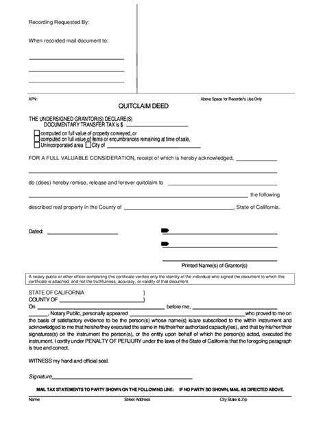quit claim form california free sle quitclaim deed california free download