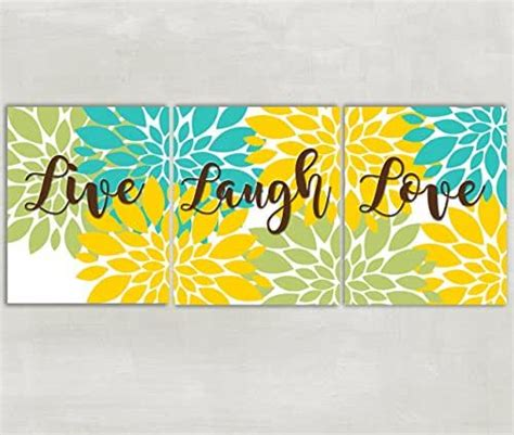 My only complaint is that rather than hanging symmetrically, it slopes slightly to one side but that's probably just my ocd kicking in & might not apply to all of them. Amazon.com: Live Laugh Love wall art Floral burst home decor Flowers Dahlia pictures Bedroom ...