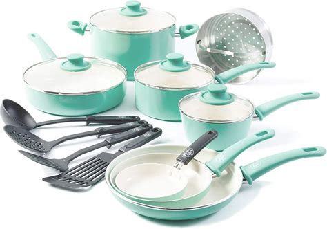 cookware greenlife stick non ceramic turquoise soft 16pc grip sets guide