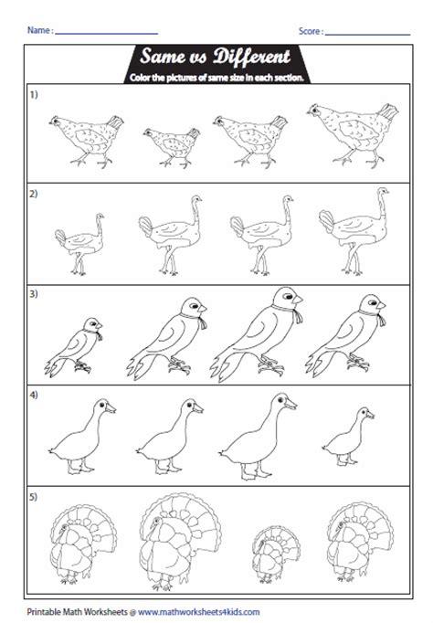 Same and Different Worksheets Kindergarten