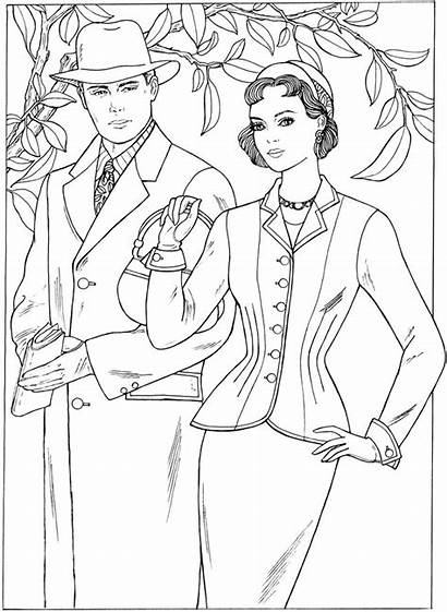 Coloring Pages 1950s Adult Dover Fashions Creative