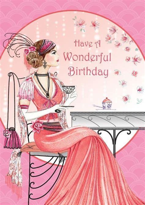 art deco lady   wonderful birthday birthday