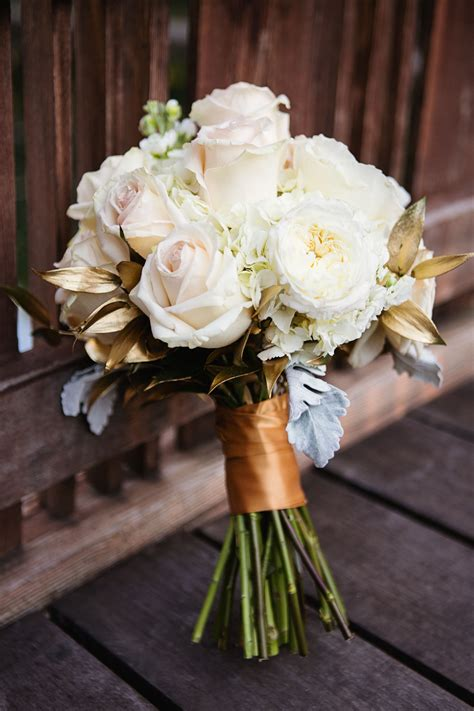 white rose  gold leaf bridal bouquet wedding colors