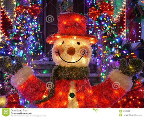 christmas outdoor christmas decorations snowman lights up house in brooklyn new york stock