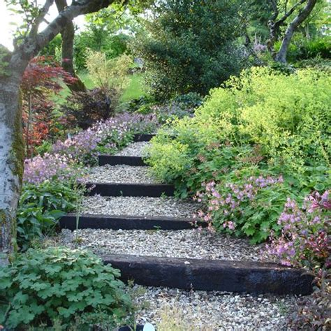 sloped walkway ideas landscaping timber stairs portfolio jenny short garden designs landscapes pinterest