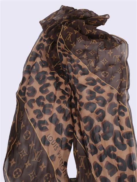 louis vuitton monogram leopard print silk chiffon scarf brown luxury bags