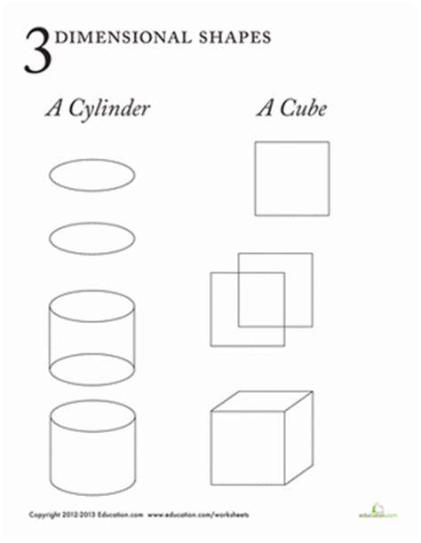 3 dimensional shapes worksheet education
