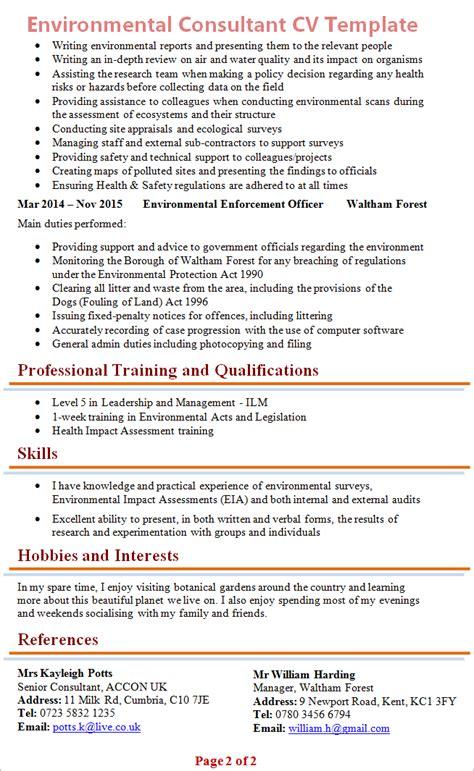 enviromental consultant cv template