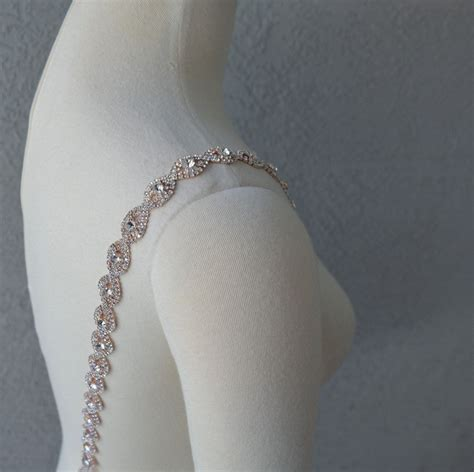 detachable rose gold rhinestone crystal straps to add to your wedding dress by chuletindesigns