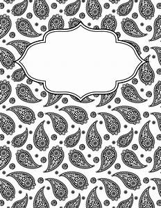 free printable black and white paisley binder cover With black and white binder cover templates