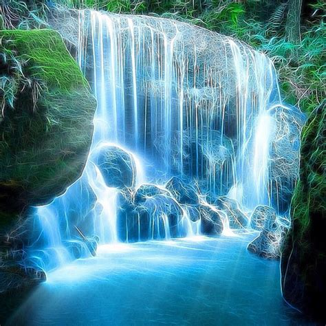 Waterfall Digital Panting Art Waterfall Nature