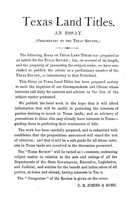 texas land titles  essay preliminary   texas